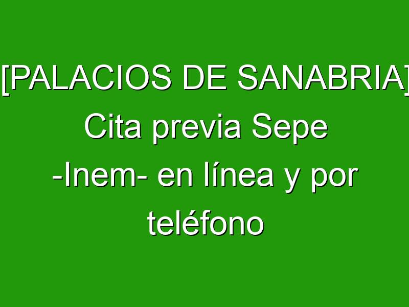 [PALACIOS DE SANABRIA] Cita previa Sepe -Inem- en línea y por teléfono