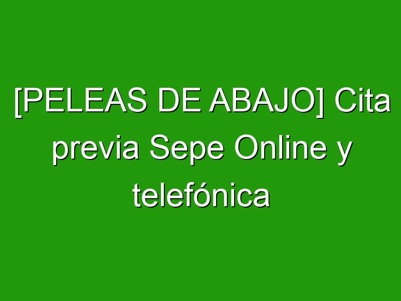 [PELEAS DE ABAJO] Cita previa Sepe Online y telefónica