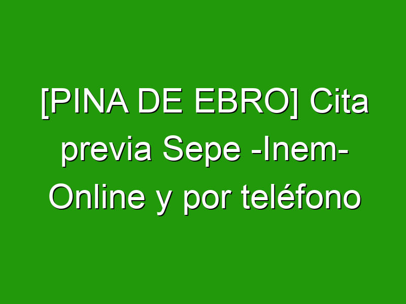 [PINA DE EBRO] Cita previa Sepe -Inem- Online y por teléfono