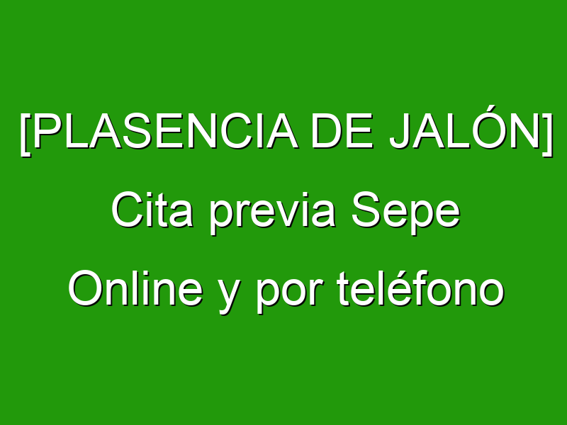[PLASENCIA DE JALÓN] Cita previa Sepe Online y por teléfono
