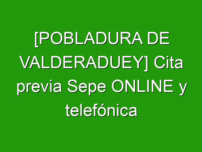 [POBLADURA DE VALDERADUEY] Cita previa Sepe ONLINE y telefónica