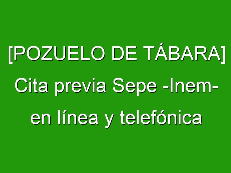 [POZUELO DE TÁBARA] Cita previa Sepe -Inem- en línea y telefónica