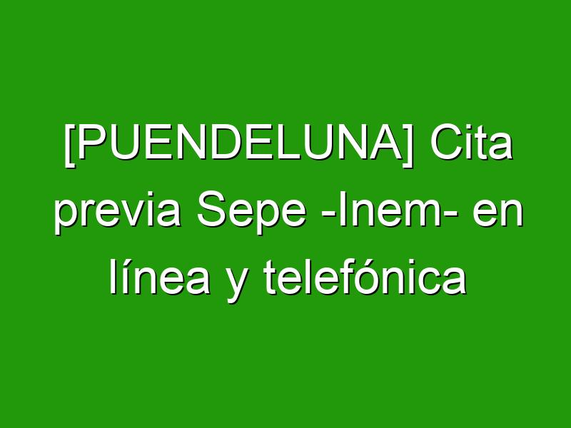 [PUENDELUNA] Cita previa Sepe -Inem- en línea y telefónica