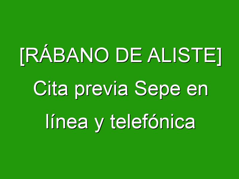 [RÁBANO DE ALISTE] Cita previa Sepe en línea y telefónica