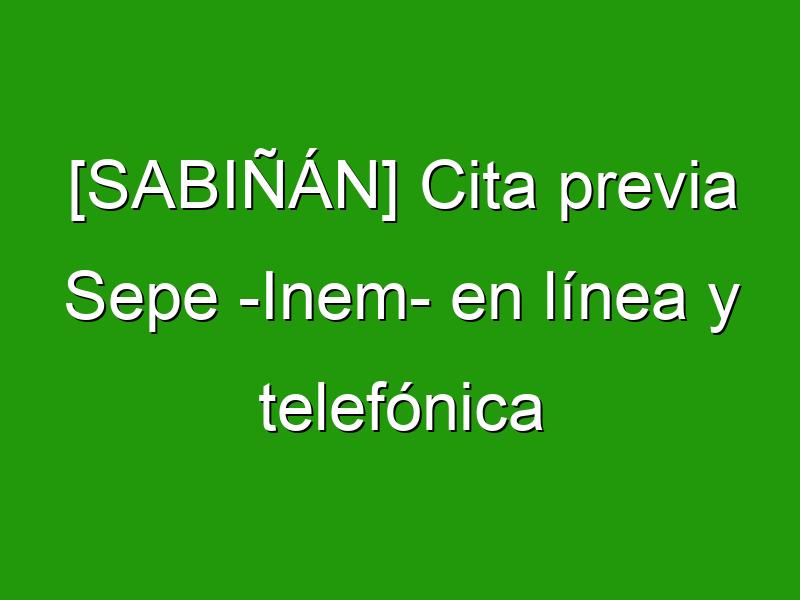[SABIÑÁN] Cita previa Sepe -Inem- en línea y telefónica