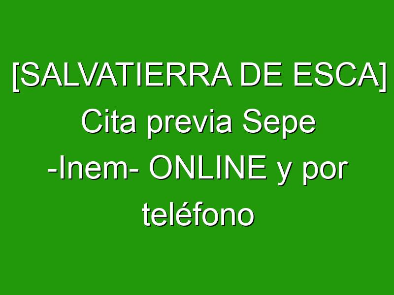 [SALVATIERRA DE ESCA] Cita previa Sepe -Inem- ONLINE y por teléfono