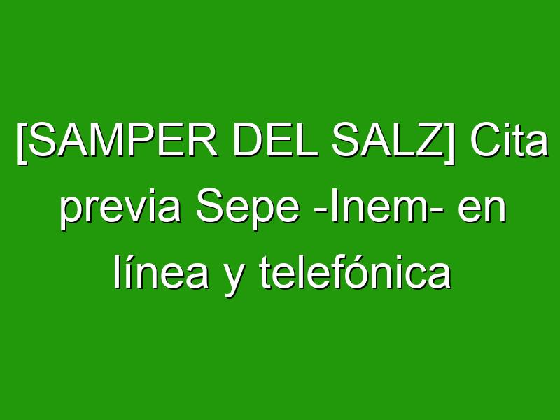 [SAMPER DEL SALZ] Cita previa Sepe -Inem- en línea y telefónica