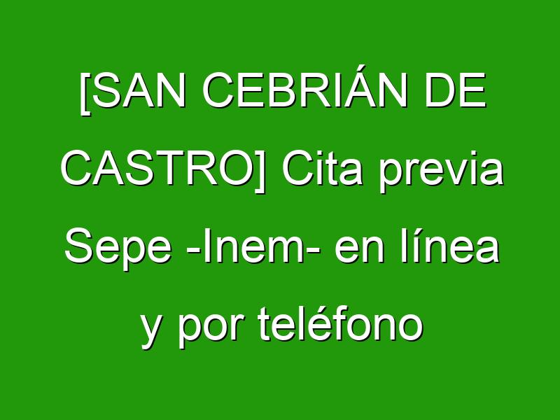 [SAN CEBRIÁN DE CASTRO] Cita previa Sepe -Inem- en línea y por teléfono