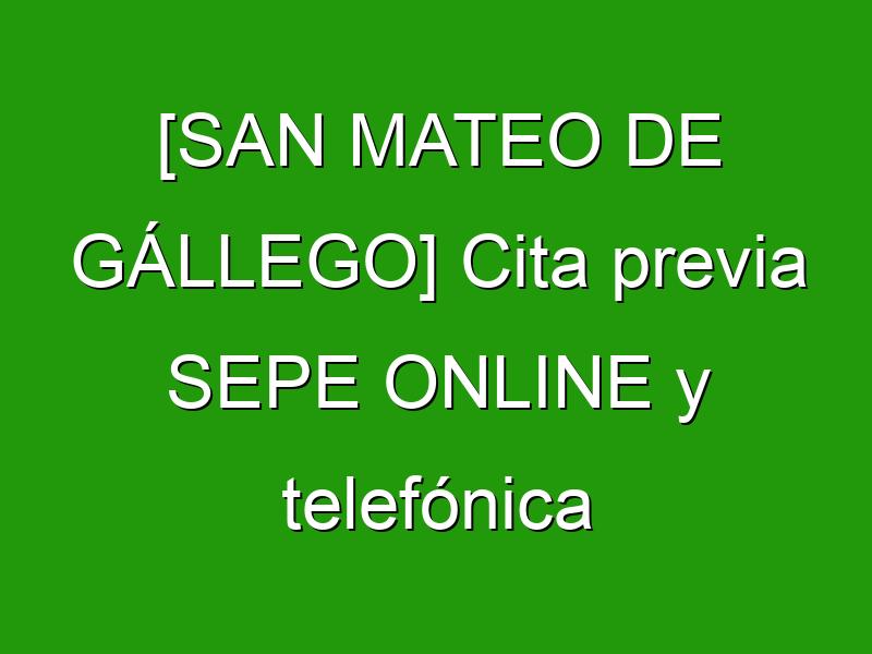 [SAN MATEO DE GÁLLEGO] Cita previa SEPE ONLINE y telefónica