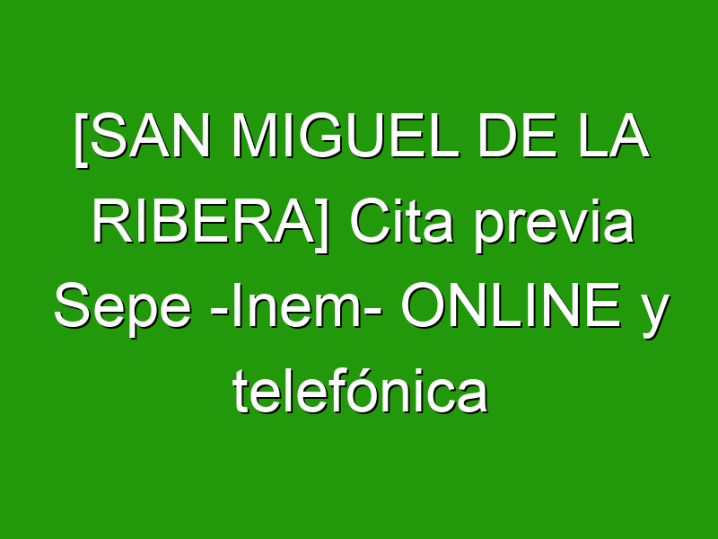 [SAN MIGUEL DE LA RIBERA] Cita previa Sepe -Inem- ONLINE y telefónica