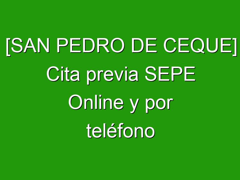 [SAN PEDRO DE CEQUE] Cita previa SEPE Online y por teléfono