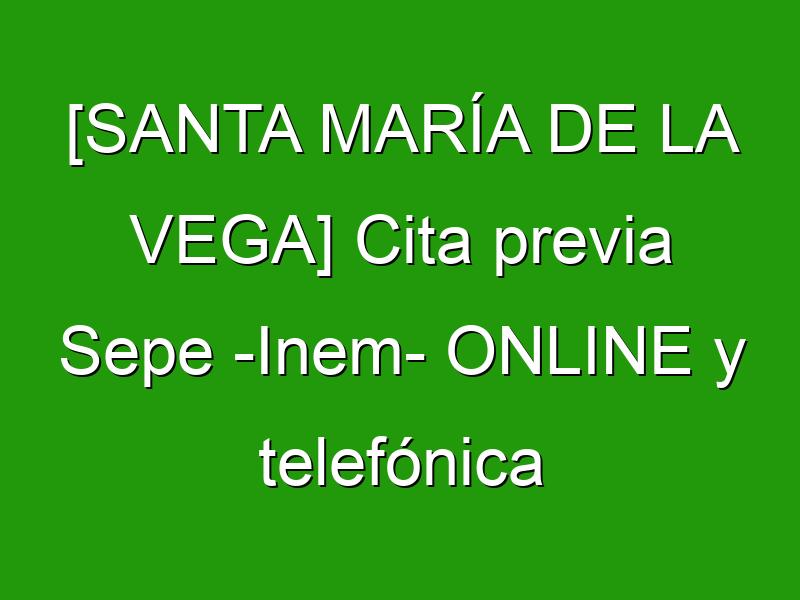 [SANTA MARÍA DE LA VEGA] Cita previa Sepe -Inem- ONLINE y telefónica