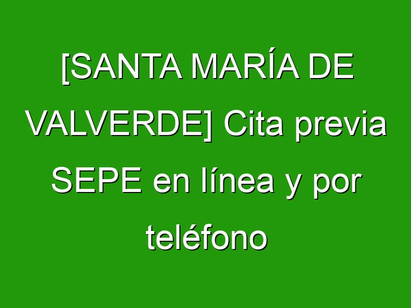 [SANTA MARÍA DE VALVERDE] Cita previa SEPE en línea y por teléfono