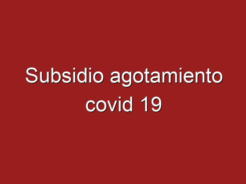 ¿Subsidio por agotamiento covid 19?