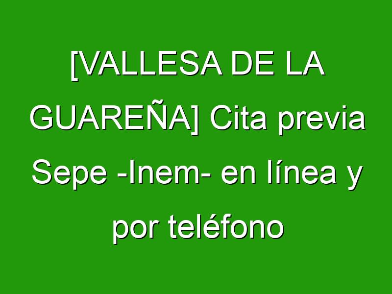 [VALLESA DE LA GUAREÑA] Cita previa Sepe -Inem- en línea y por teléfono