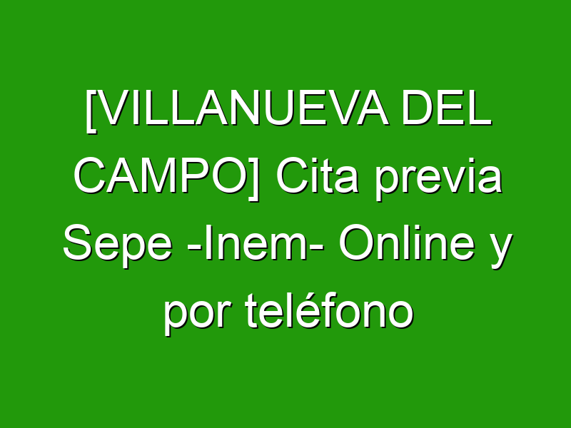 [VILLANUEVA DEL CAMPO] Cita previa Sepe -Inem- Online y por teléfono