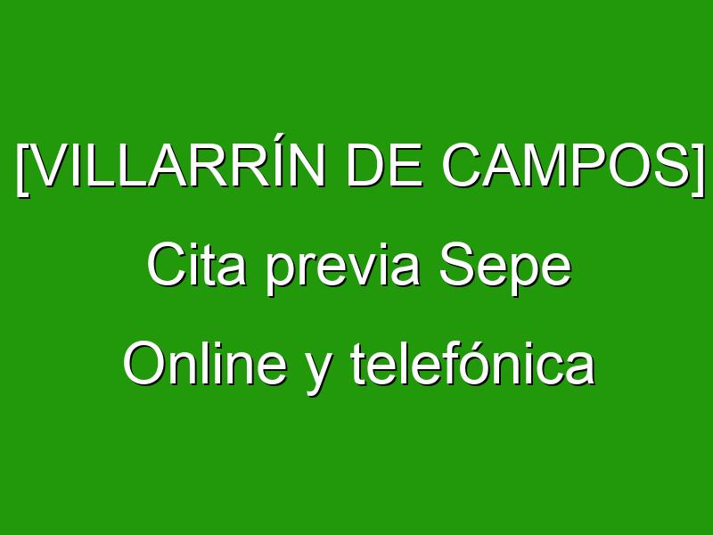 [VILLARRÍN DE CAMPOS] Cita previa Sepe Online y telefónica