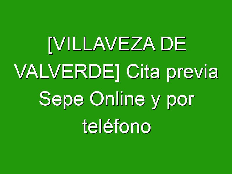 [VILLAVEZA DE VALVERDE] Cita previa Sepe Online y por teléfono