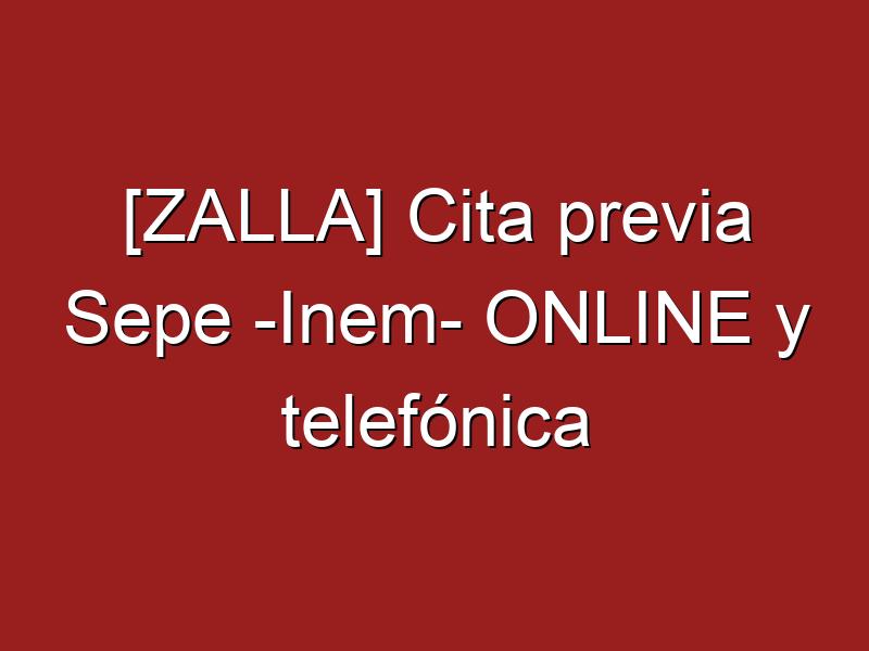 [ZALLA] Cita previa Sepe -Inem- ONLINE y telefónica