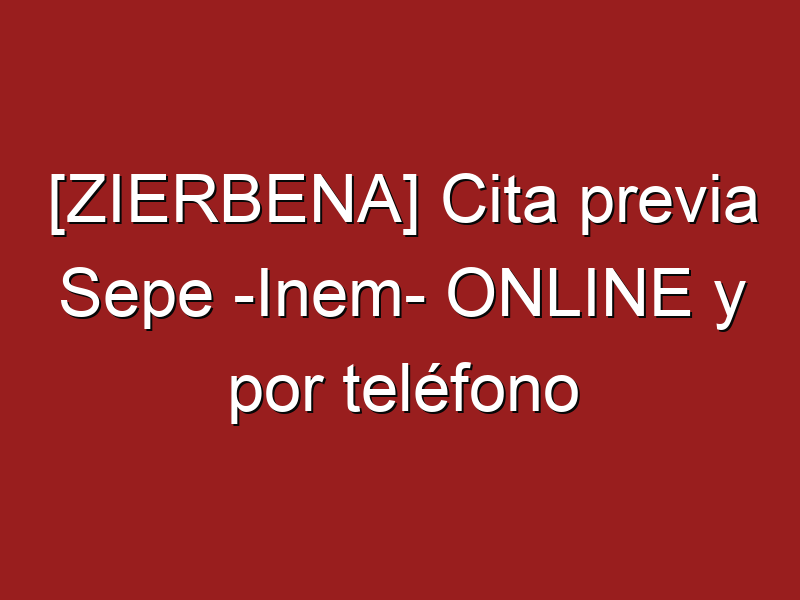 [ZIERBENA] Cita previa Sepe -Inem- ONLINE y por teléfono